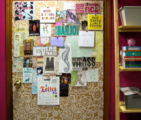 eclectic home office Stenciled corkboard (via Design*Sponge sneak peek: elana of rosebud design)
