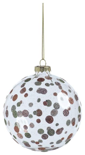 "4"" Dixie Glittered Polka Dot Holiday Ball Ornaments, Set of 6"