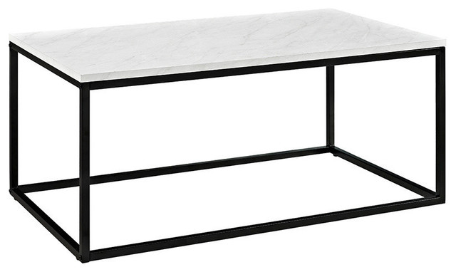 """42"""" Mixed Material Coffee Table with Metal Base, Marble"""
