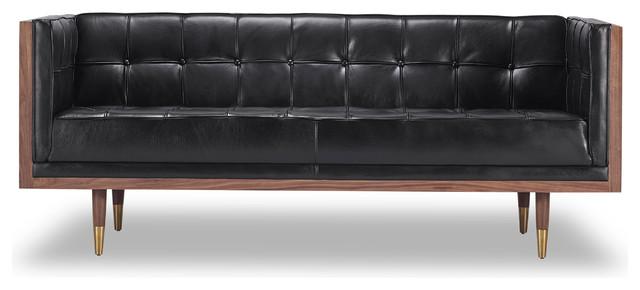 Woodrow Midcentury Modern Box Loveseat, Seat: Black, Base: Walnut.