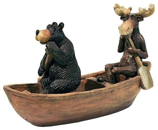Moose And Black Bear In Boat Statue Rustic Decorative