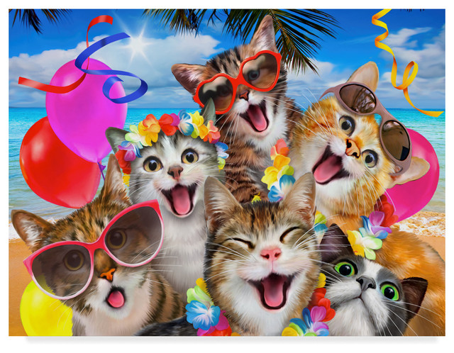 """Kitten Party"""" by Howard Robinson, Canvas Art - Beach Style - Prints And  Posters - by Trademark Global"""