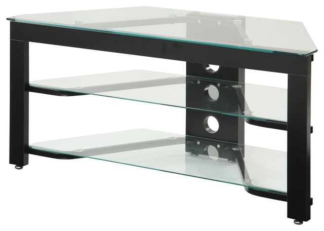 Glass and Wood TV Stand, Black - Traditional - Entertainment Centers And Tv Stands - by ...