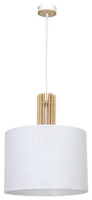 Scandinavian Wood Pendant Light Castro, White Fabric