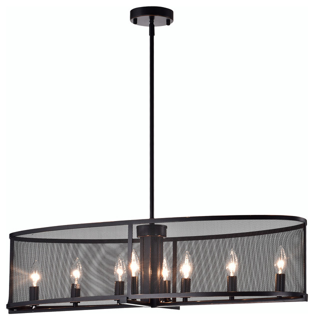 Aludra 8 Light Oil Rubbed Bronze Oval Metal Mesh Shade Dining Room Chandelier