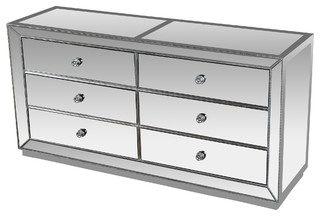 Jameson Silver Mirrored Bedroom Dresser