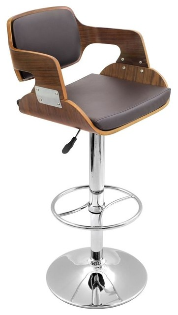Fiore Chrome And Wood Bar Stool