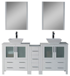 """Sydney 72"""" Double Vanity Set With Vessel Sinks and Mirrors, Glossy White"""