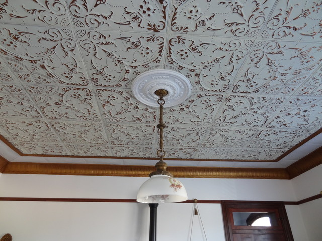 Living room tin ceiling tile installation. American made ...