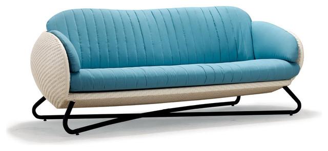 Brown Circle Sofa, Orange Cushion.