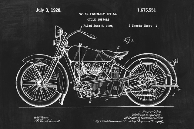 Harley Davidson Motorcycle Invention Patent Art Poster Print - Industrial - Prints And Posters ...