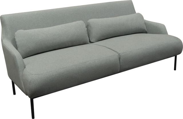 Melrose Sofa With Black Powder Coat Metal Legs Mist Gray
