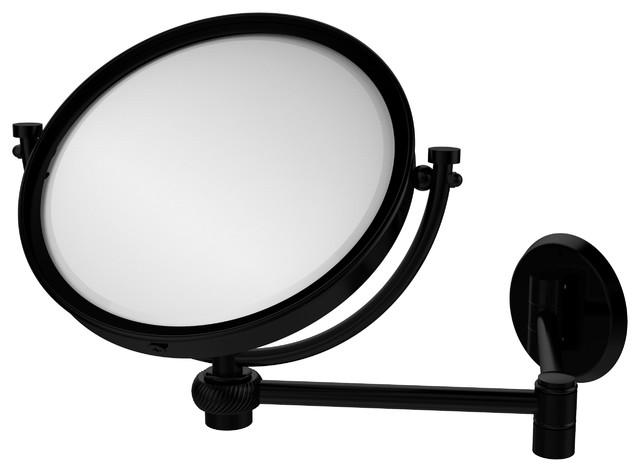 "8"" Wall Mounted Extending Make-Up Mirror 4X Magnification With Twist Accent"