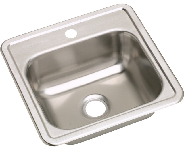 "Elkay Dayton Stainless Steel 15""x15""x5-3/16"" Top Mount Bar Sink D115161"