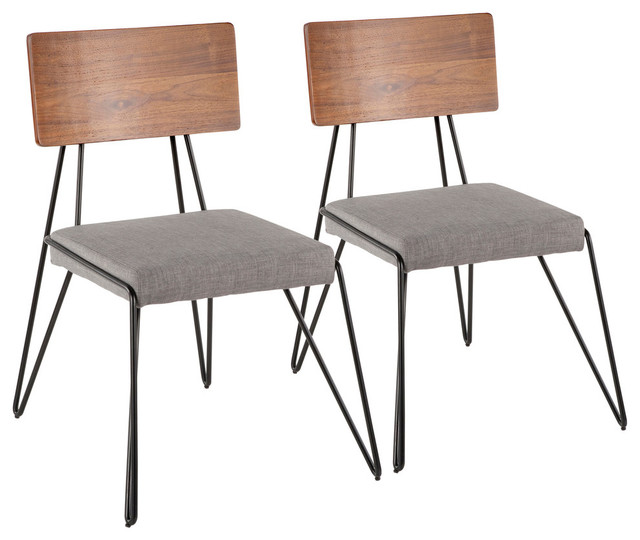 Lumisource Loft Chair, Black Metal With Gray and Walnut Wood Accent, Set of 2