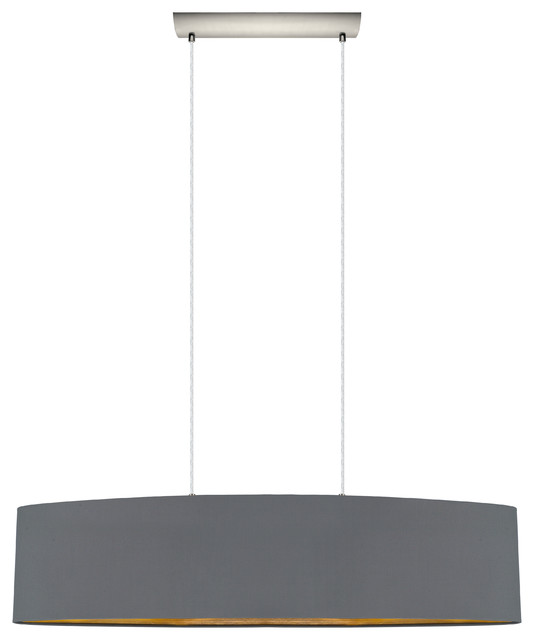 2x60w Pendant With Satin Nickel Finish And Cappucino And Gold Shade.
