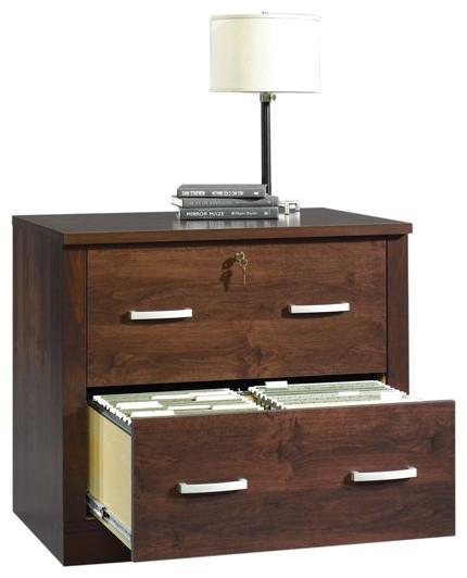sauder office port file cabinet dark alder transitional filing cabinets - Decorative File Cabinets