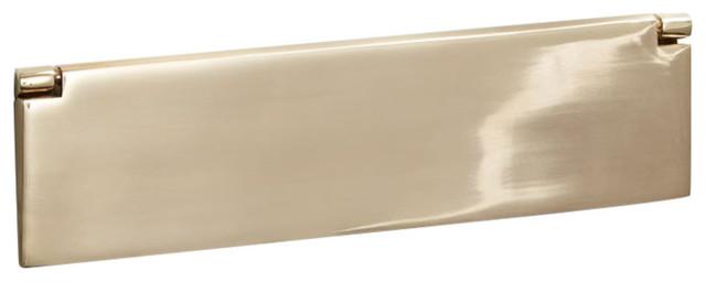 Internal Letter Box Flap, 300mm, Polished Brass