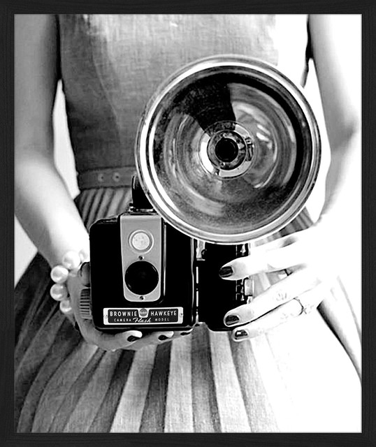 """Vintage Flash Camera"" Framed Art Print, 55x65 cm"