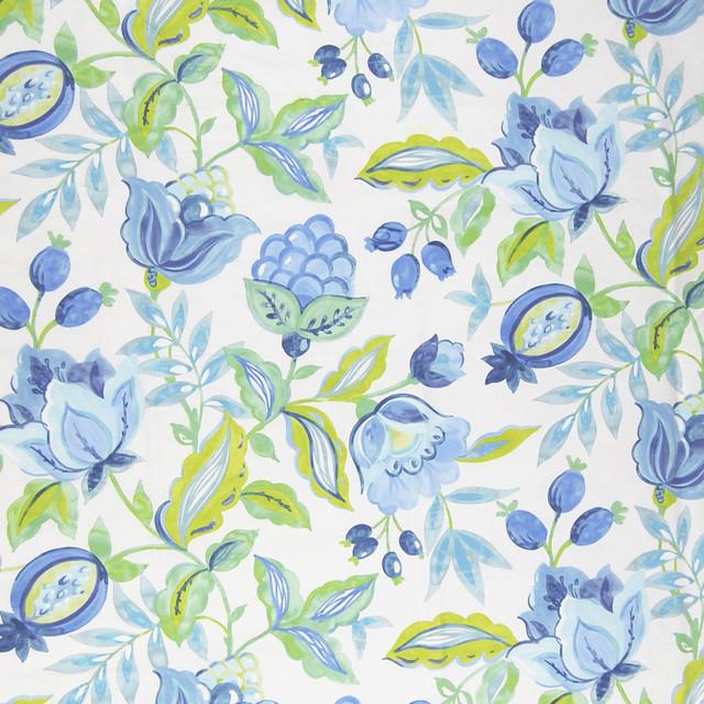 Aquarium Blue Tropical Floral Cotton Print Upholstery Fabric