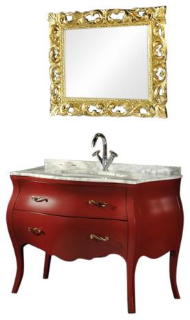 Baroque Bathroom Vanity Unit, Red, 115 cm
