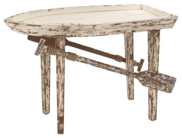 Beau Rustic Wood Boat Table, Taupe