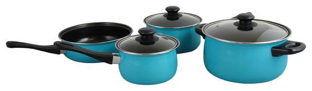 Chef Du Jour 7-Piece Cookware Set, Aqua Blue.