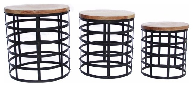 Round Top Nesting Coffee Tables Black And Brown Set Of 3