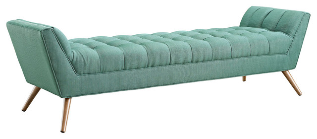 Modern Contemporary Fabric Bench , Blue, Fabric.