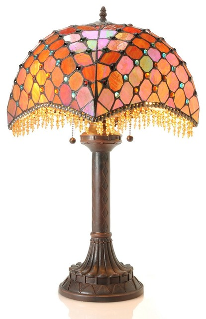 Tiffany Style Amber Beaded Table Lamp Victorian Table Lamps
