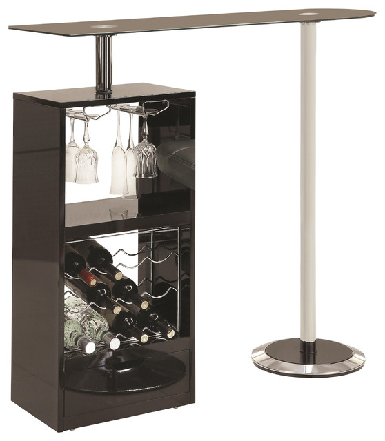 Modern Gl Top Metal Stemware Storage Wine Rack Unit Bar Table Black Contemporary