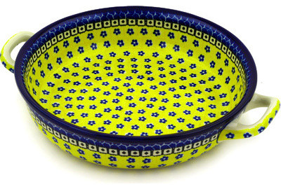 """Polish Pottery 13"""" Stoneware Round Baker With Handles Hand-Decorated Design."""