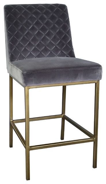 Velvet Counter Stool With Bronze And Gold Steel Frame