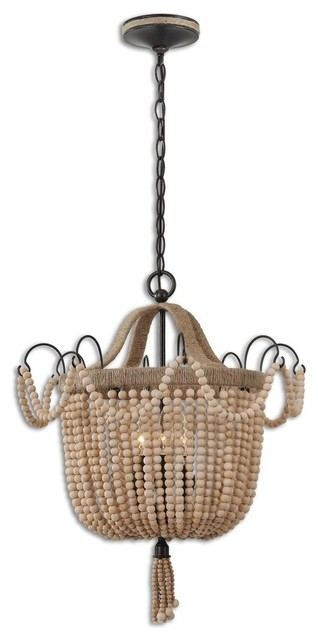 """19"""" Wood Beaded Pendant Chandelier With Rope Details, 3-Light"""