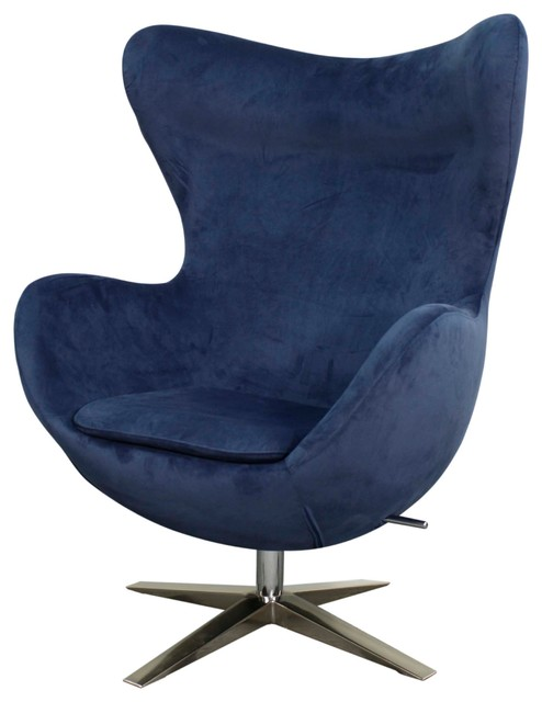 max fabric swivel rocker chair with chrome legs midnight blue