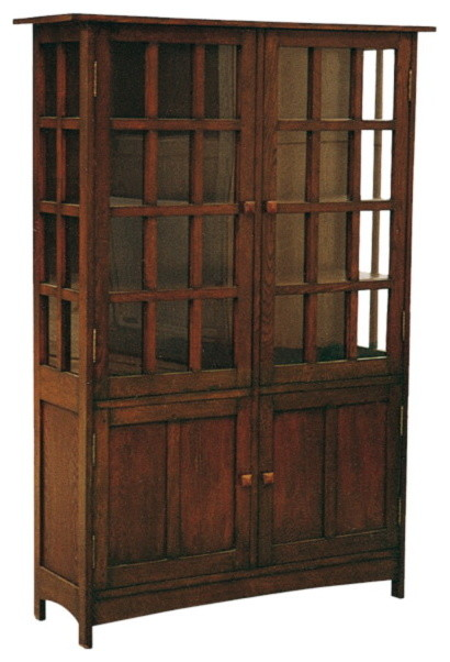 Arts and Crafts Mission Solid Oak China Cabinet - Craftsman ...