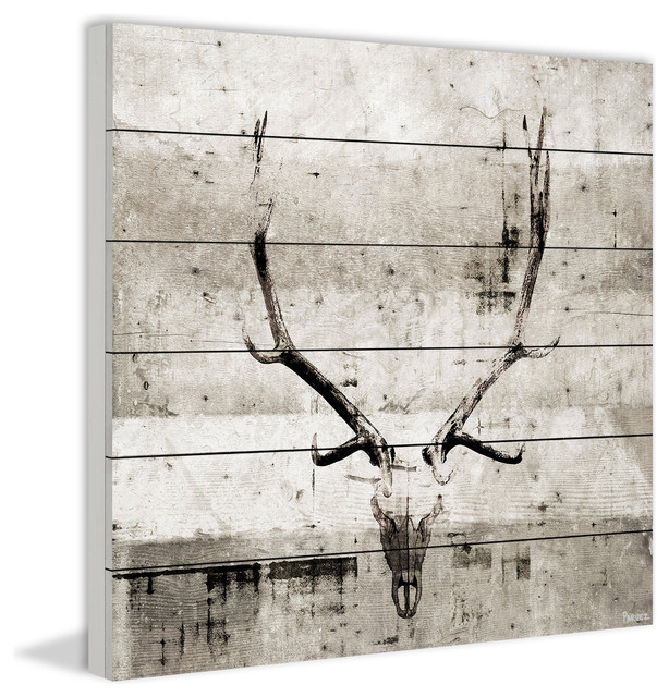"""long Antlers"" Painting Print On White Wood, 40""x40""."