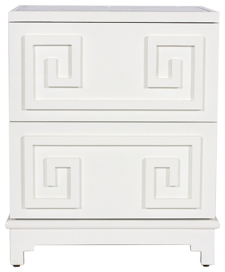 Greek Key Nightstand, Mirror, White  Transitional Nightstands And Bedside Tables