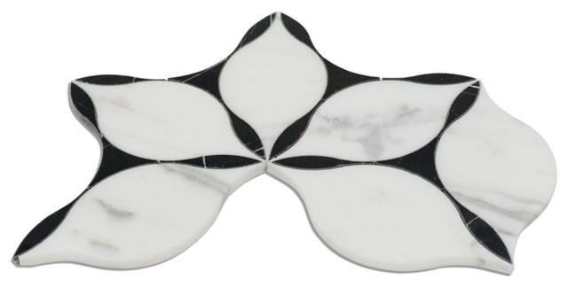 Evangeline Nero Marquina and Calacatta Marble Tile
