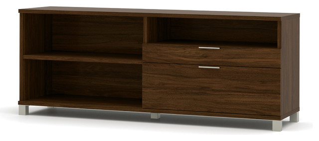 """Modern 71"""" Credenza with File Drawer, Oak Barrel - Contemporary - Filing Cabinets - by OfficeDesk"""