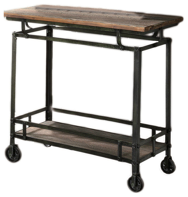 "Wood And Metal Industrial Kitchen Cart: Pressley Aged Wood And Metal Cart 33"" W X 17.75"" D X 32"" H"