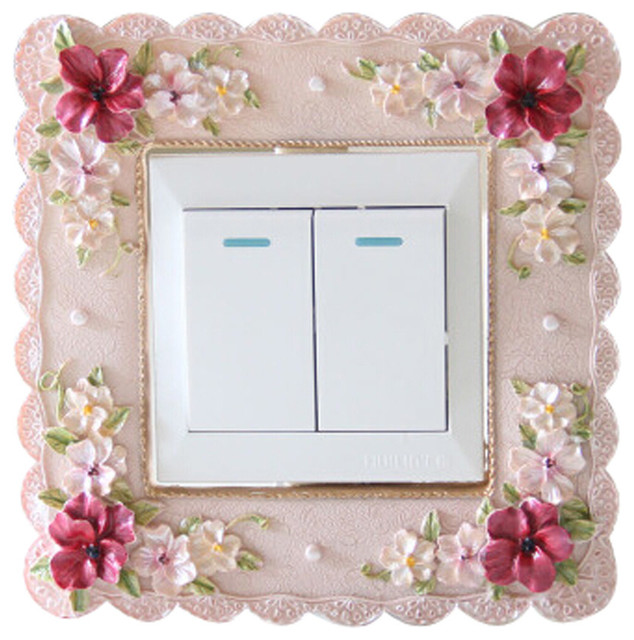 2-Piece, Home Creative Resin Switch Sticker Country Style Beautiful Wall Sticker