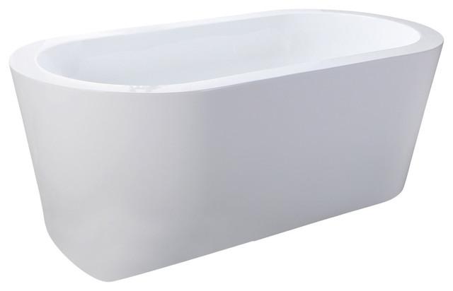 """HelixBath Pella Freestanding Acrylic Modern Bathtub 59"""" White"""