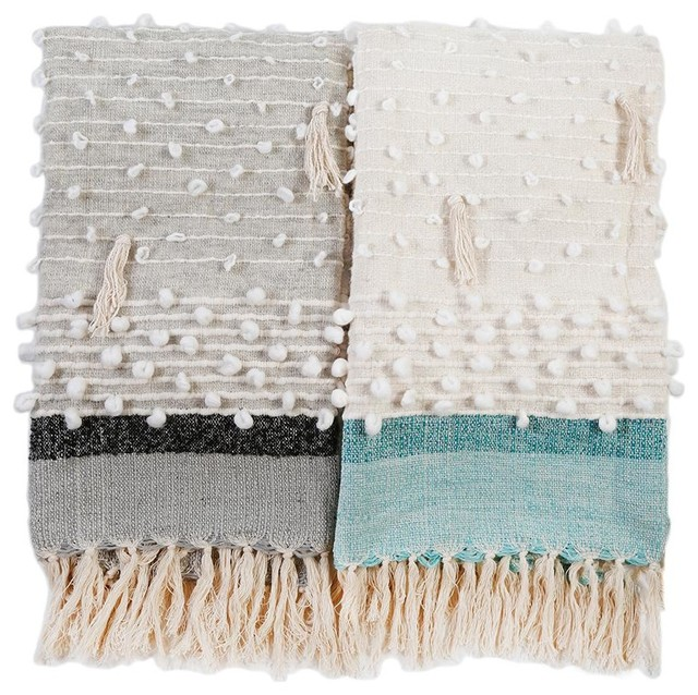 Ziggy Handwoven Throw, Ivory And Aqua.