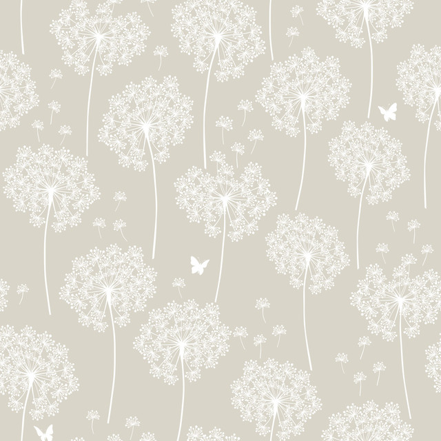 Taupe Dandelion Peel And Stick Wallpaper, 4 Rolls.