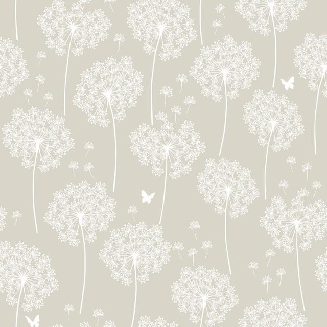 Taupe Dandelion Peel And Stick Wallpaper, 4 Rolls. -1