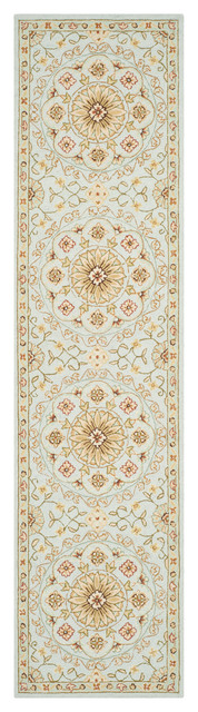 """Lucia Hand Hooked Rug, Teal/green, 2&x27;6""""x10&x27;."""