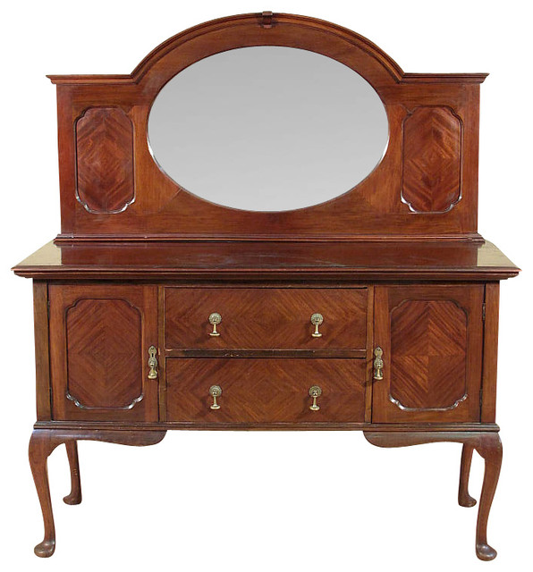 Antique Mahogany Queen Anne Sideboard Buffet Server traditional-buffets -and-sideboards - Antique Mahogany Queen Anne Sideboard Buffet Server - Traditional