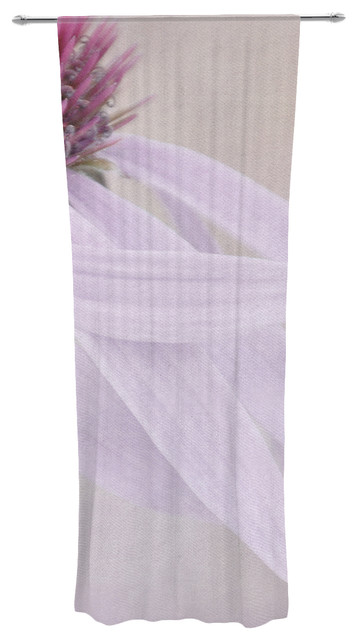 "Iris Lehnhardt ""windswept"" Lavender Floral Decorative Sheer Curtain."
