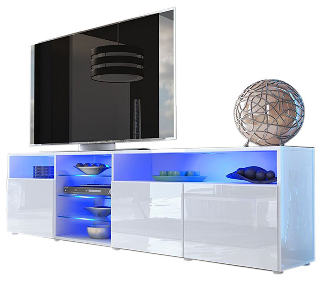 Roma Modern TV Stand Matte Body Gloss Doors With LED Lights, White